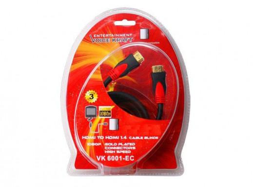 Przewód, kabel HDMI-HDMI v. 1.4 2m VK 6001-EC VoiceKraft
