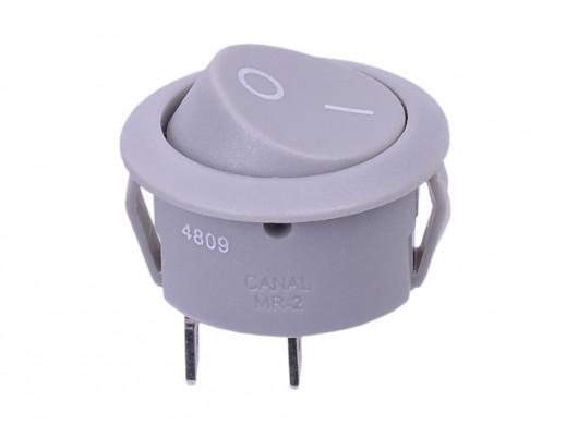 Przełącznik kołyskowy okrągły 2poz 2pin 10A 250V  szary