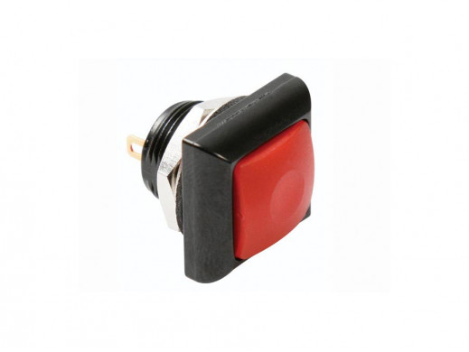 MINI SQUARE METAL PUSH BUTTON WITH RED BUTTON 1P SPST OFF-(ON)