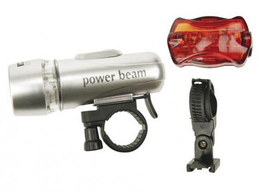 Lampy rowerowe 2x5LED przód/tył PowerBeam