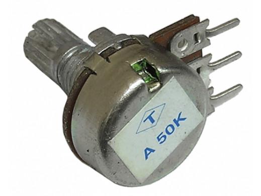 Potencjometr ośka 1*50k-A 16mm logarytmiczny