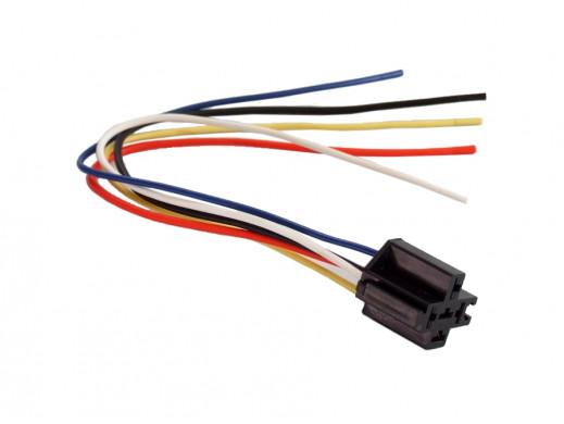 Gniazdo samochodowego przekaźnika z kablem NVF4 z uchwytami do łączenia
