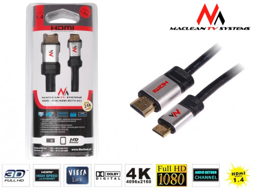 Przewód, kabel miniHDMI-HDMI v1.4 1.8m Maclean MCTV-603 A-C