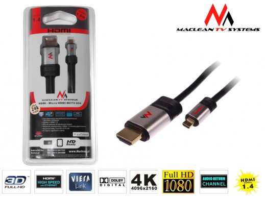 Przewód, kabel HDMI-microHDMI v1.4 1.8m Maclean MCTV-604   A-D