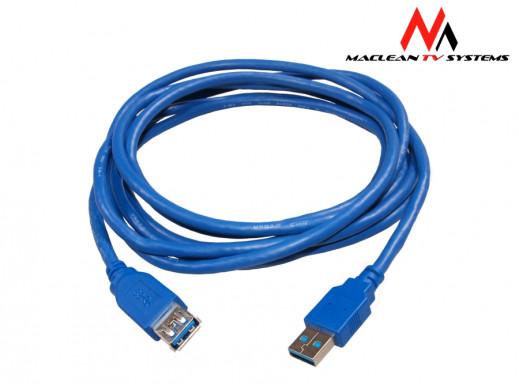 Przewód, kabel USB 3.0 wtyk A męski - wtyk A żeński przedłużacz AM-AF 3m Maclean MCTV-618 polybag