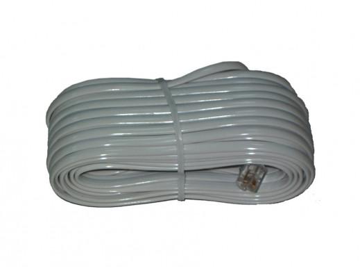 Przewód, kabel telefoniczny wtyk-wtyk 2m biały