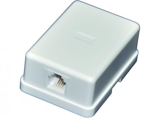 Gniazdo telefoniczne 1*6PIN 6P4C natynkowe prostokąt