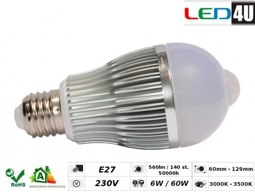 Żarówka E27 6W z czujnikiem ruchu Led4U LED6075IR-WW ciepły biały 3000K-3500K