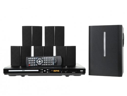 Zestaw kina domowego DVD/USB/SD, LED wyświetlacz + zestaw głośników 5.1