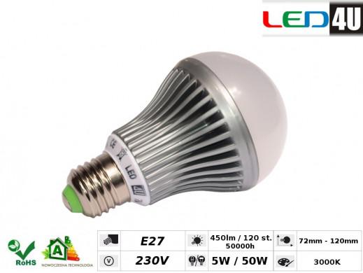 Żarówka LED E27 5W Led4U LED0501-WW ciepły biały 450lm 3000K