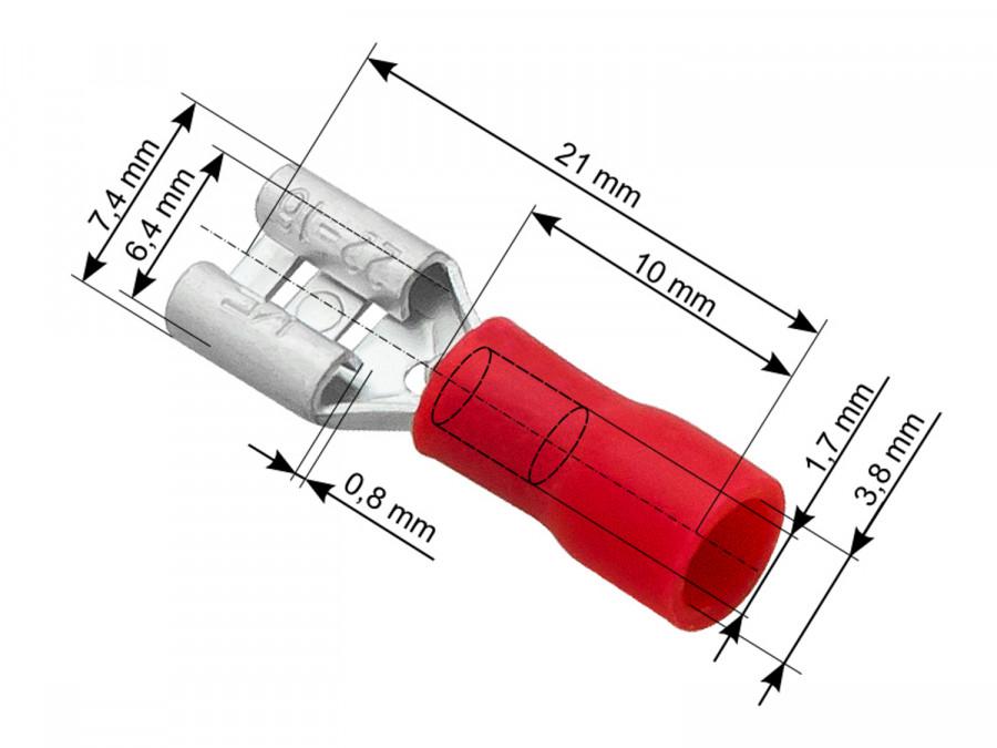 Wsuwka żeńska 6,3mm/0,8mm czerwona izolowana do połowy 0,5-1,5m2
