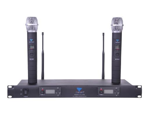 Mikrofon bezprzewodowy UHF Azusa dwukanałowy z automatycznym dostrajaniem PLL-200