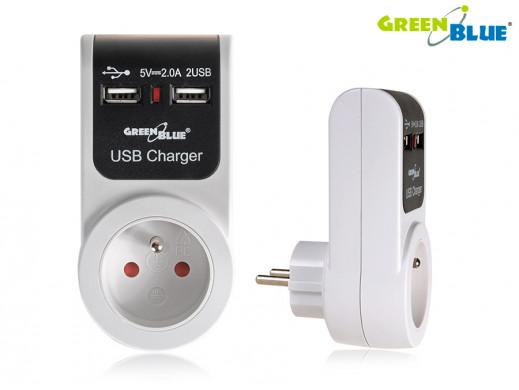 Uniwersalny zasilacz USBx2 gniazdko prądowe GreenBlue GB101 2A