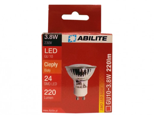 Żarówka LED GU10 24smds 5050 3,8W ciepły biały 220lm Abilite