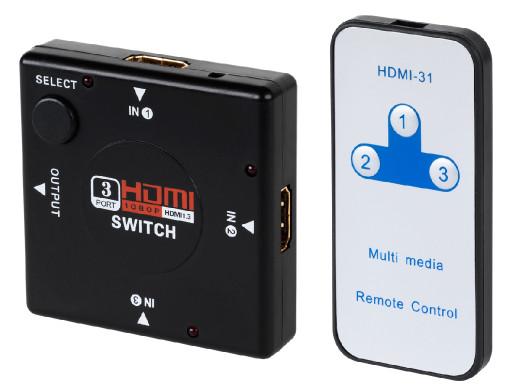 Rozgałęźnik HDMI 3x1 z pilotem Cabletech