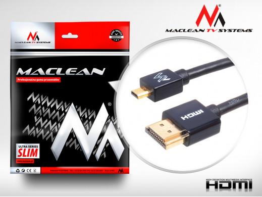 Przewód HDMI-microHDMI ULTRA SLIM v1.4 0,5m Maclean MCTV-720 A-D