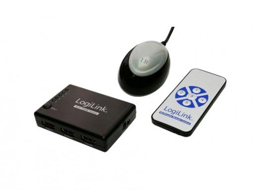 Switch HDMI 5 wejścia i 1 wyjście z pilotem HD0004 Logilink