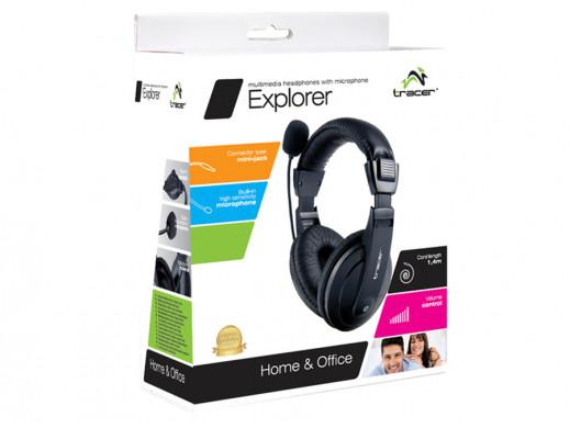 Słuchawki z mikrofonem nauszne Explorer Tracer