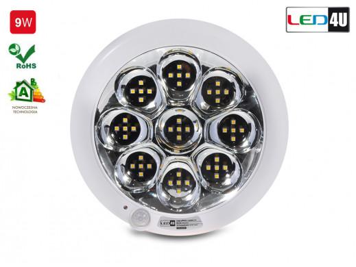 Plafon sufitowy z czujnikiem pir Led4U LED9000IR-WC 9W zimny biały 6000K-6500K