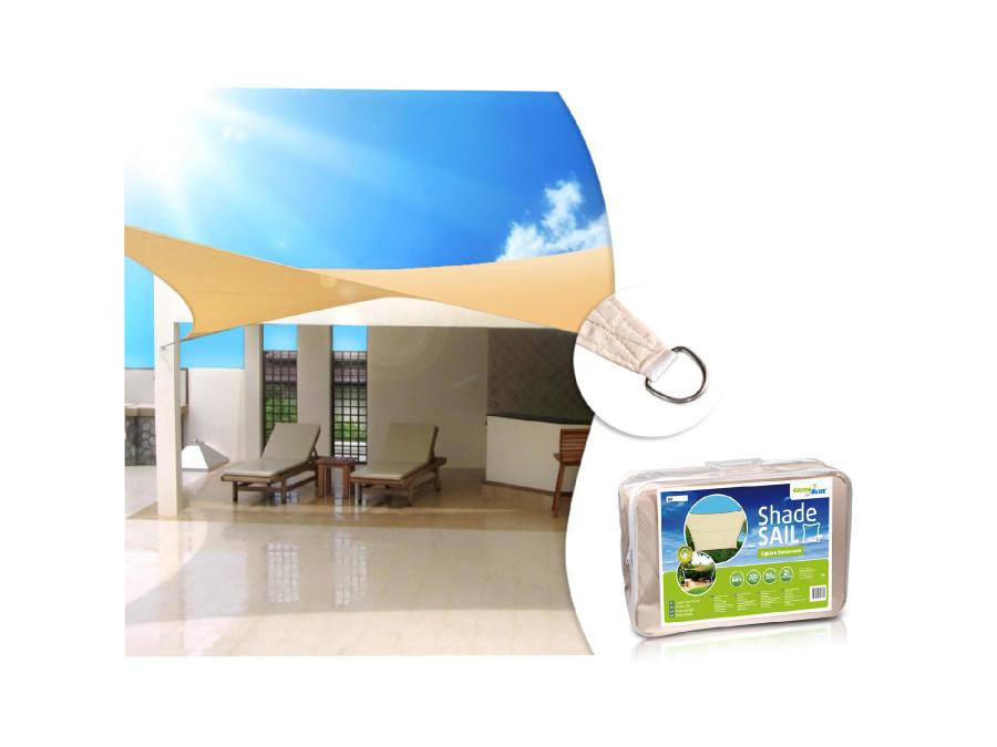 Żagiel ogrodowy zacieniacz UV poliester 5m kwadrat GreenBlue GB505 kremowy hydrofobowa powierzchnia