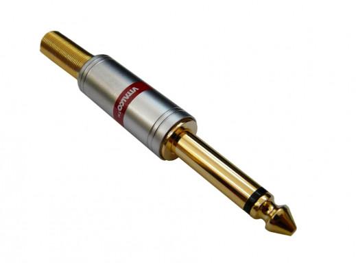 Wtyk jack 6,3mm mono JW680 chrome 7mm Vitalco