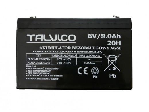 Akumulator żelowy 6V 8aH Talvico