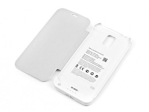 Bateria zewnętrzna do Samsung S5 z klapką biała