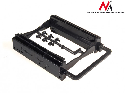 """Adapter redukcja HDD/SSD sanki szyna 3,5"""" na 2,5"""" na 2 dyski Maclean MC-653 kolor czarny"""