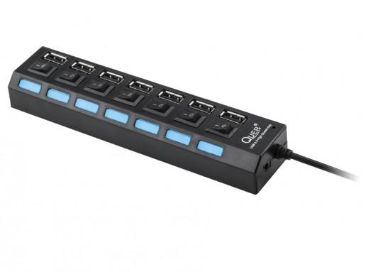 HUB USB 7 portowy Quer czarny z wyłacznikami