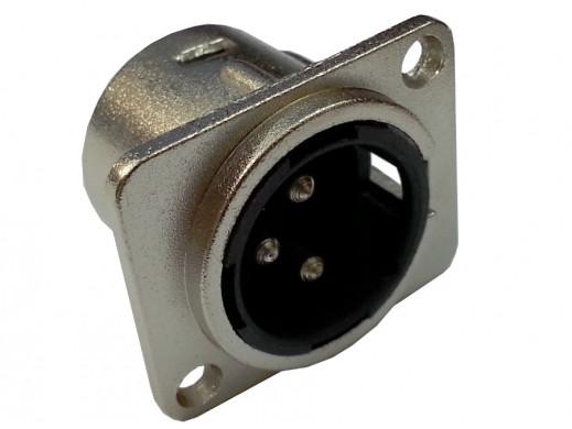 Wtyk mikrofonowy męski XLR 3pin montażowy kwadrat