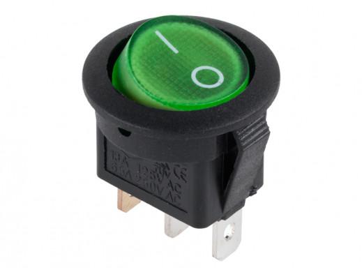 Przełącznik klawiszowy podświetlany 2 pozycje 3 pin okrągł 230V 2 poz 3pin zielony