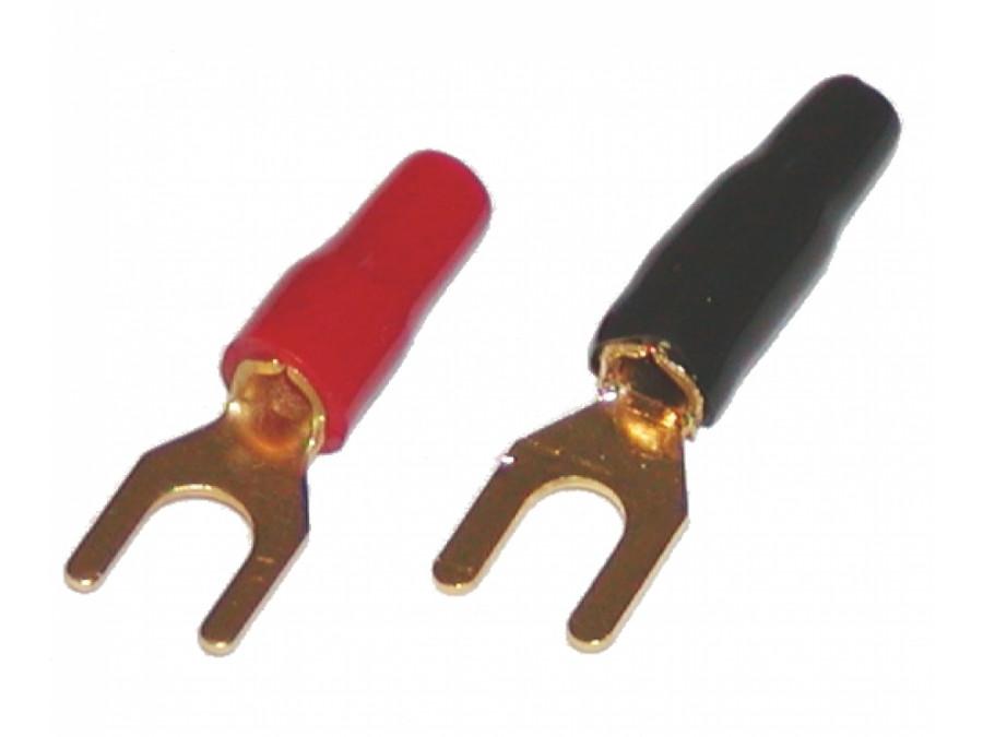 Konektor widełki HD-1-14 4mm na przewód 3mm złote