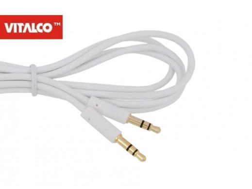 Przewód 3,5mm jack wtyk-wtyk 0,5m biały Vitalco