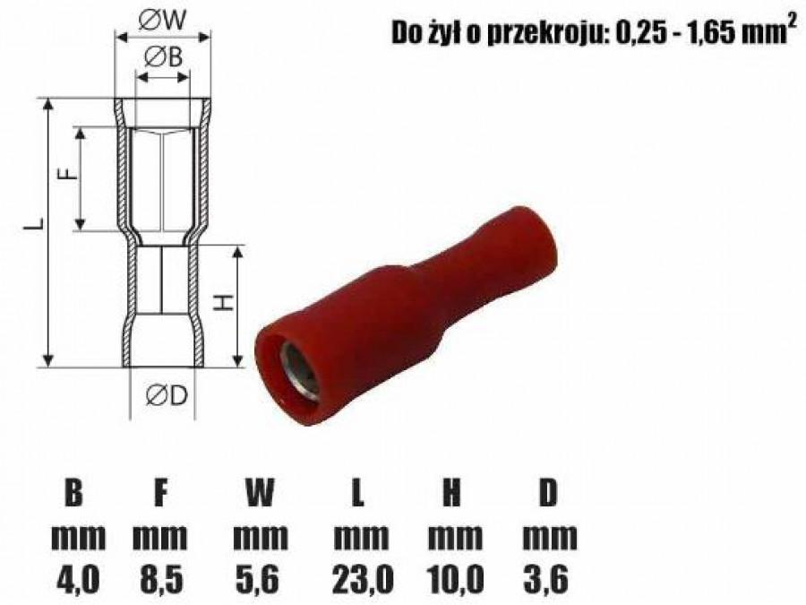 Konektor rurkowy żeński 601028 FRV1-156 czerwony izolowany