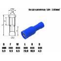Konektor rurkowy żeński Fi-4mm niebieski na kabel
