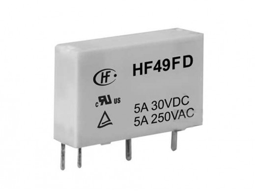 Przekaźnik  elektromagnetyczny miniaturowy  HF49FD-005-1H11T (JZC49F)  5V  DC  1 styk zwierny  5A  240V AC  5A  30V DC  do druku