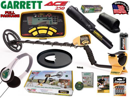 """Wykrywacz metali Garrett ACE250 Full Zestaw: detektor ACE 250, sonda (cewka) eliptyczna 6,5x9"""", osłona sondy, słuchawki, ProPoin"""