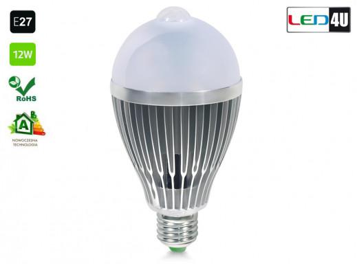 Żarówka E27 12W z czujnikiem ruchu Led4U zimny biały LED12C 6000K-6500K
