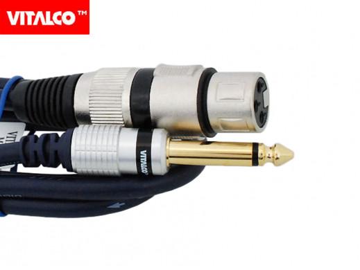 Przewód, Kabel jack 6,3mm wtyk- gniazdo XLR mono 1m Vitalco