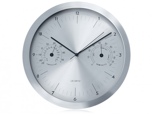 Zegar ścienny srebrny 14''...