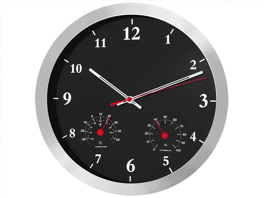 Zegar ścienny czarny 14'' z termometrem i higrometrem CE40B