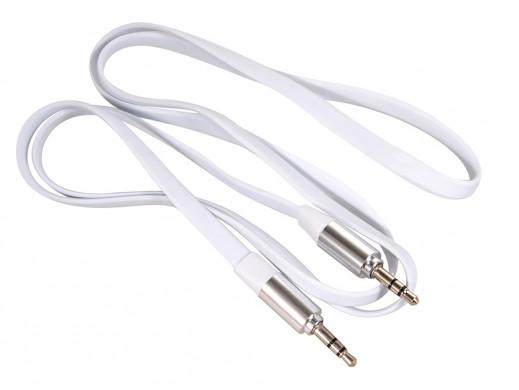 Przewód  jack 3.5mm, płaski 1m, metalowy wtyk, white Maclean MCTV-694 W