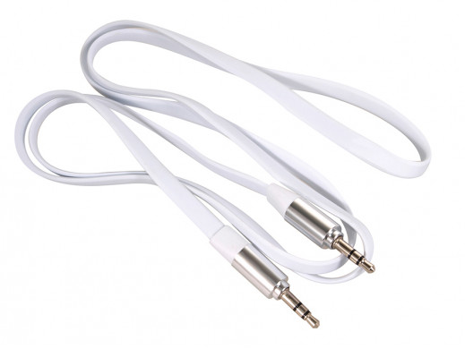 Przewód  jack 3.5mm, płaski 2m, metalowy wtyk, white Maclean MCTV-695 W