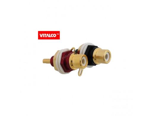 Gniazdo cinch RG39 montażowe czerwone lub czarne złote Vitalco