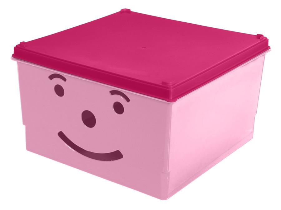 Pojemnik na zabawki Smiley BranQ różowy