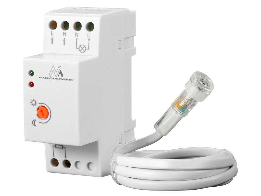 Wyłącznik czujnik zmierzchowy na szynę DIN z zewnętrzną sondą Maclean MCE83  220-240V/AC, 50Hz 20A.