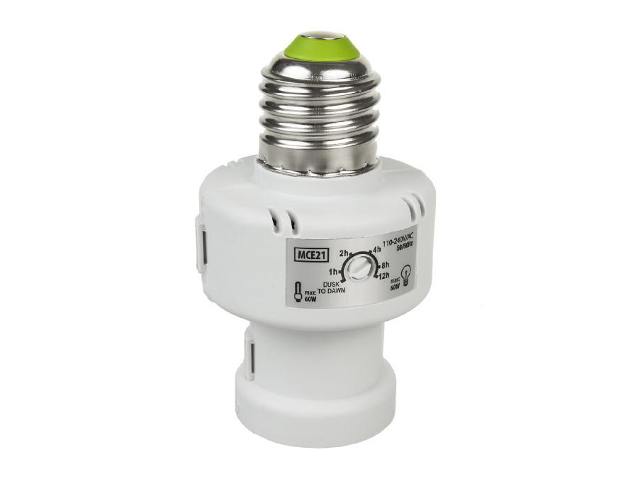 Oprawa żarówki z czujnikiem zmierzchu timer Maclean Energy MCE21W  E27 100W kolor biały