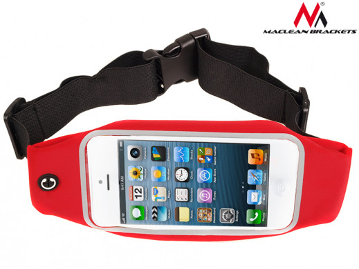 "Etui biodrowe na telefon czerwony Maclean MC-403 R 5,7"" nerka saszetka"