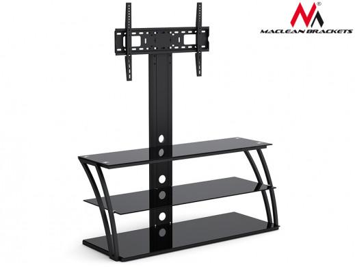 "Stolik RTV szklany z uchwytem do LCD Maclean MC-672  32-55"" 40kg max vesa 600x400"