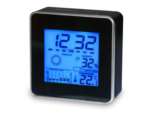 Zegar z budzikiem Meteo ZP16 czarny zegarek 10x10x4,5cm
